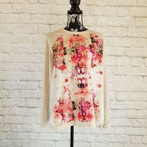 Apt. 9 Tan&Floral Raglan Long Sleeve Top